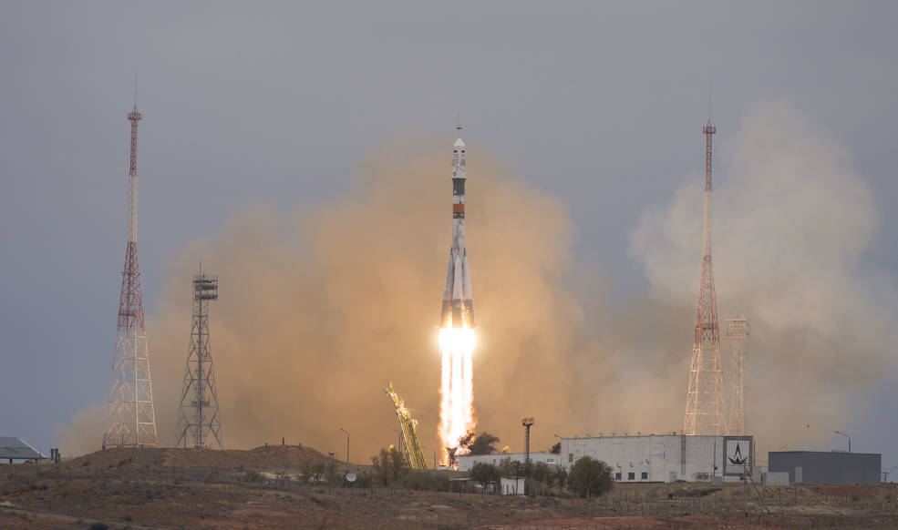 The Soyuz MS-02 rocket is launched with Expedition 49 Soyuz commander Sergey Ryzhikov of Roscosmos, flight engineer Shane Kimbrough of NASA, and flight engineer Andrey Borisenko of Roscosmos, Wednesday, Oct. 19, 2016 at the Baikonur Cosmodrome in Kazakhstan. Ryzhikov, Kimbrough, and Borisenko will spend the next four months living and working aboard the International Space Station. Photo Credit: (NASA/Joel Kowsky)